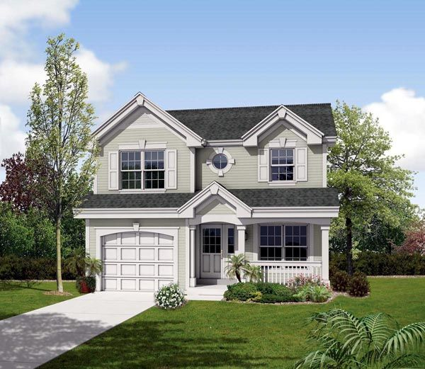 Country   Traditional   House Plan 87819 - basement and garage, 2.5 baths, 2 beds