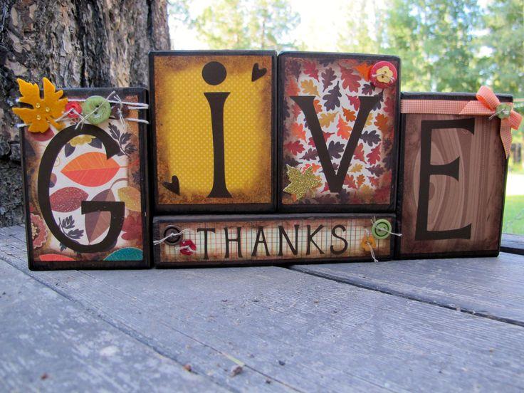 Fall Blocks, Wooden Block Set, Thanksgiving Blocks, Fall Blocks Set, Home Decor, Wooden Blocks, Fall Sign, Harvest, Thanksgiving. $30.00, via Etsy.
