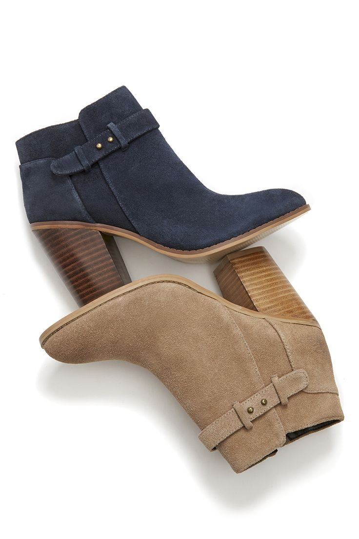 Suede booties with gorgeous buckle detailing along the ankle