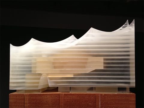 Herzog & de Meuron present the project Elbphilharmonie Hamburg with the help of a magical glowing model. Photo © Ralf Wollheim
