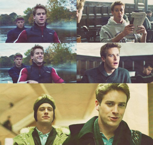Winklevoss twins as played by Armie Hammer, I like Cameron's hair, and Tyler's sassyness...