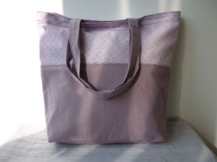sac de shopping totebag tons mauve et lilas