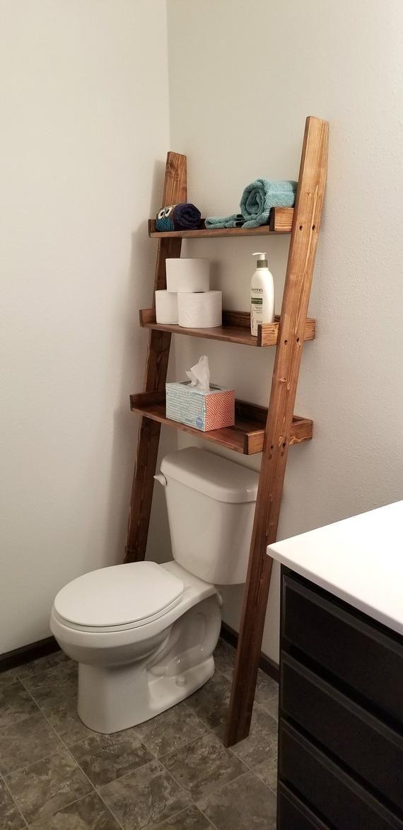 Over The Toilet Ladder Shelf Over The Toilet Storage Etsy Toilet Storage Over The Toilet Ladder Toilet Shelves