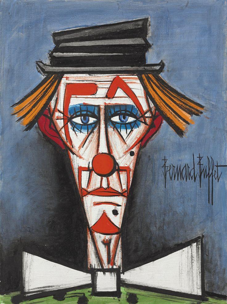 'Clown au chapeau claque' (Clown in Top Hat) by Bernard Buffet, 1986