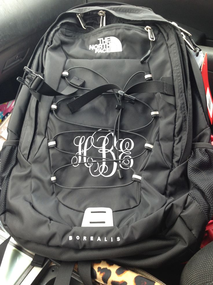Monogrammed backpack.
