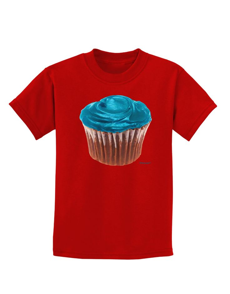 Giant Bright Turquoise Cupcake Childrens Dark T-Shirt by TooLoud