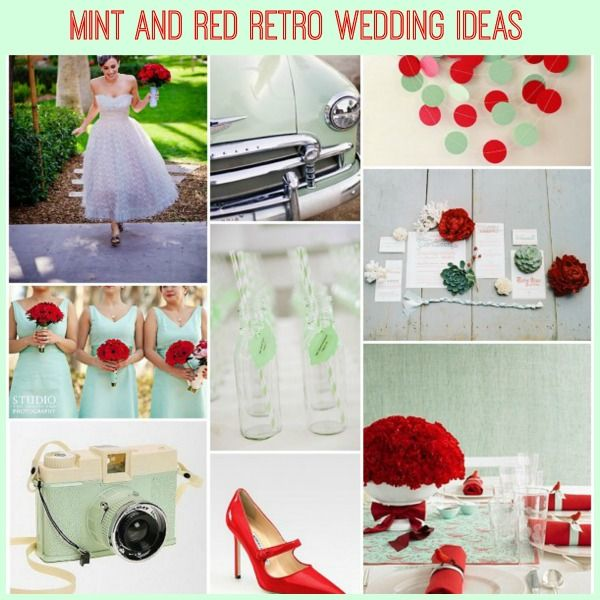 retro mint red wedding ideas on French Wedding Style