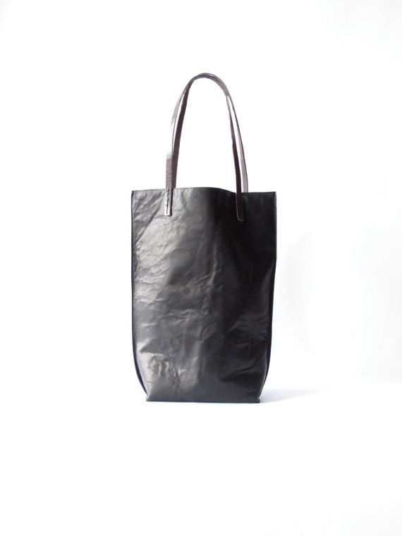 Basic black leather tote by amykreiling on Etsy, 8.5x3.75x14, $290