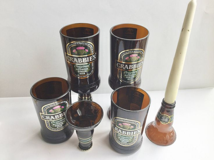 Crabbies Ginger beer cut bottle upcycled goblet chalice shot glasses and candle holder by causewaybay on Etsy