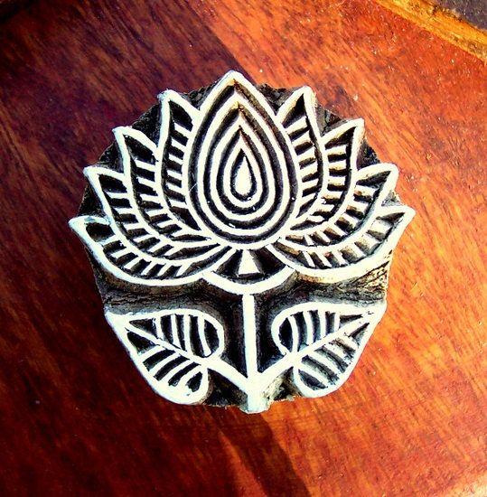 Lotus Wood Stamp Hand Carved Indian Print by PrintBlockStamps, $10.00