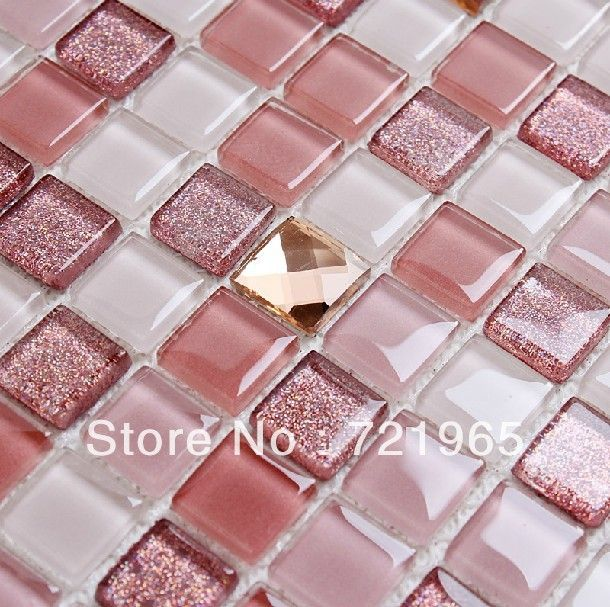Crystal Glass Mosaic Tile Kitchen Backsplash CGMT195 Pink Glass Mirror Mosaic For Bathroom Wall & Floor Tiles Free Shipping US $239.59