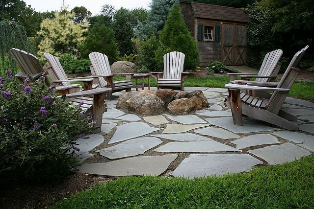 "Flagstone and Pea Gravel Patio | Flagstone Patio with Fire Pit. Installed over a 6"" compacted stone ..."