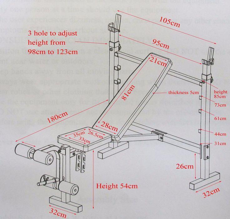 Resultado de imagen para medidas de una banca para pesas