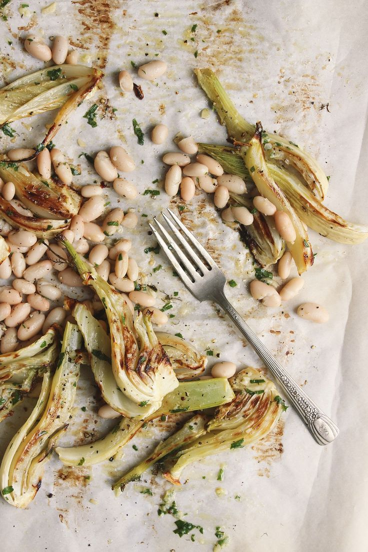 Roasted Fennel + White Beans with Garlicky Parsley Oil
