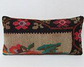 long decorative pillow cream throw pillow black decorative pillow beige kilim pillow floral pillow couch pillow case vintage cushion 23449
