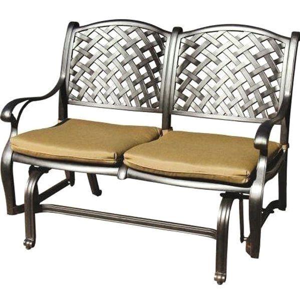 Patio Bench Love Seat Nassau Cast Aluminum Furniture Outdoor Glider Couch  Bronze