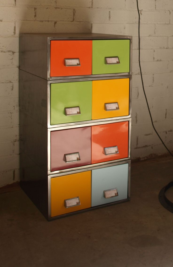 Filing Drawers This amazing looking stack of filing drawers has been cut back to the raw steel and given a durable finish, with the drawers being finished in bright retro colours it looks awesome. Perfect for a DVD or CD collection