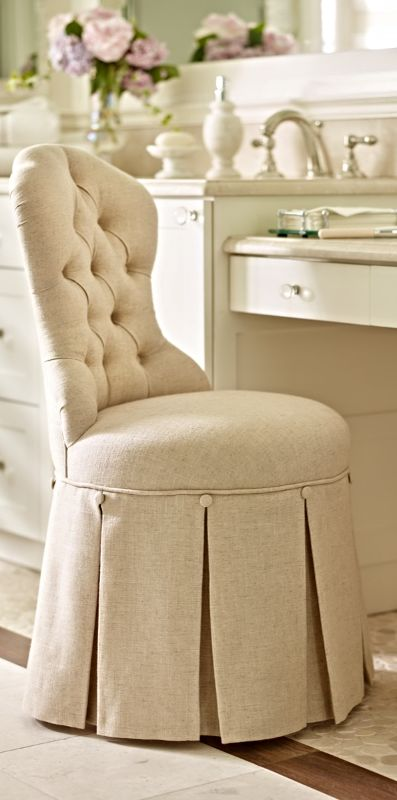 Images Photos From the button tufted Louis style chair back to a gracefully draped pleated skirt