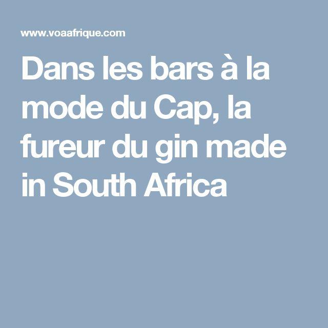 Dans les bars à la mode du Cap, la fureur du gin made in South Africa