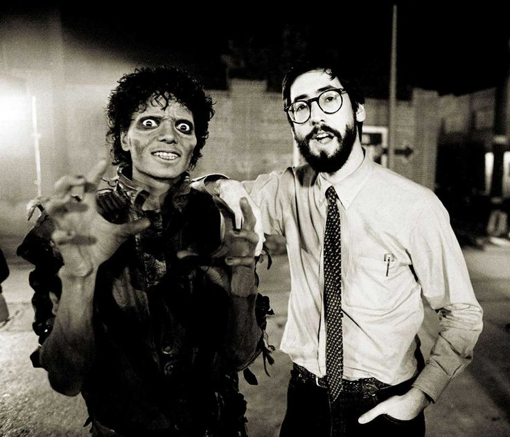 Michael Jackson and John Landis on the set of the Thriller music video | Rare and beautiful celebrity photos