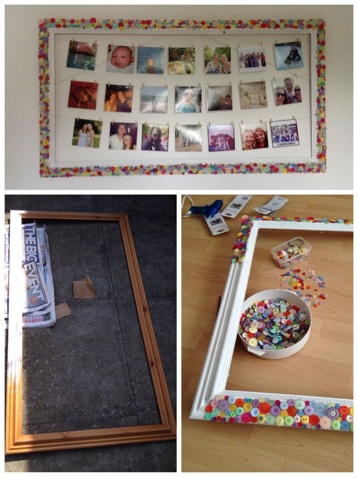 Large button frame with washing line style photo display.