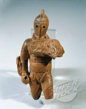 Terracotta statue of Samnite gladiator, From Volubilis (Morocco)