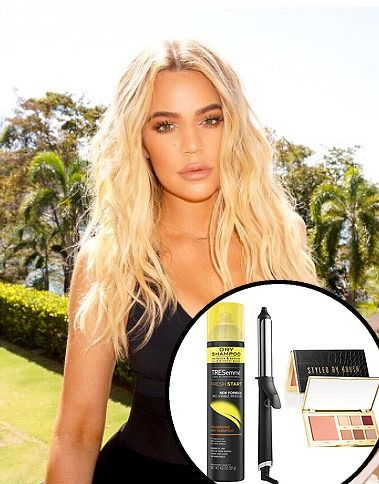 Khloe Kardashian's GHD curling iron, Tresemme dry shampoo and Tarte styled by Hrush makeup palette - click ahead for more beauty products the Kardashians use on Vacation
