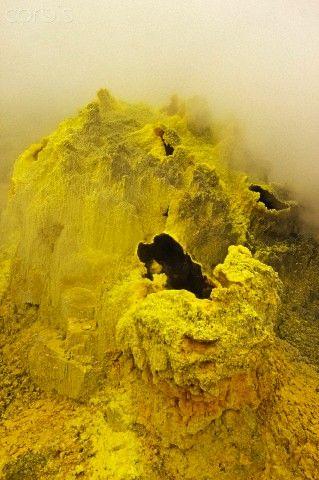 Sulphur encrusted fumaroles at Papandayan Volcano, an active four crater caldera, Garut, West Java, Java, Indonesia, Southeast Asia, Asia - 42-58193566 - Rights Managed - Stock Photo - Corbis