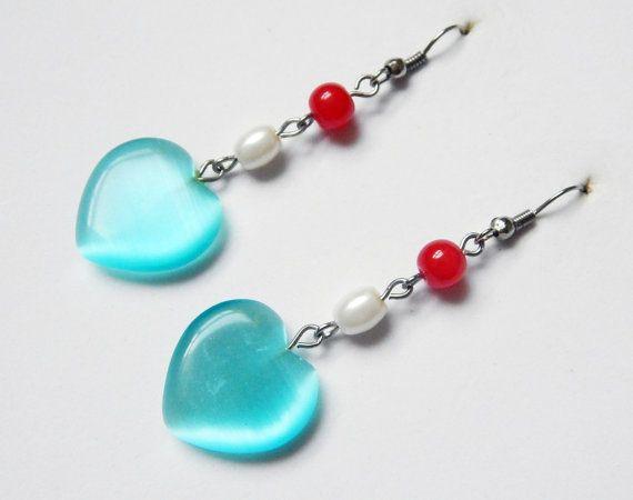 Turquoise Hearts Earrings by NotInDiamond on Etsy, $10.00