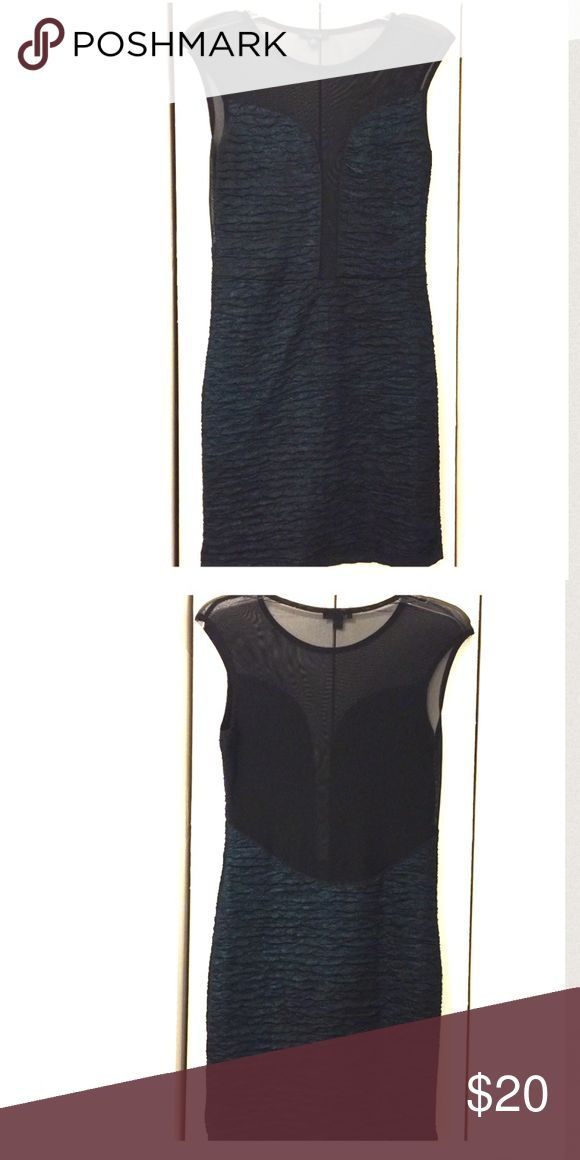 Mesh Deep Plunge Metallic Bodycon Dress Beautiful teal & black metallic bodycon midi length dress. Front has deep plunge to waist & back all mesh to waist. Size medium and would fit a size 10/12. Dresses Midi