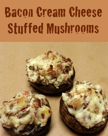 Bacon Cream Cheese Stuffed Mushrooms Recipe- a lot like the ones i make, just with the bacon inside