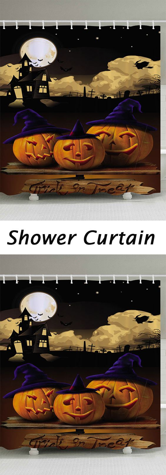 halloween decor ideas:Halloween Pumpkin Moon Print Fabric Bathroom Shower Curtain