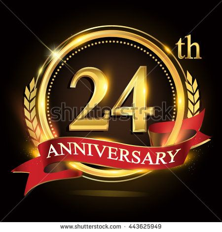 24th golden anniversary logo, 24 years anniversary celebration with ring and red ribbon, Golden anniversary laurel wreath design. - stock vector