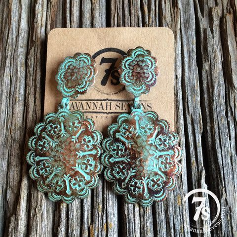 Rolette Concho Earrings – copper patina concho earrings from Savannah Sevens Western Chic