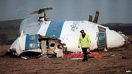 Pan Am Flight 103 (also known as the Lockerbie bombing) was a Pan Am transatlantic flight from London Heathrow Airport to John F. Kennedy International Airport in Queens, New York that was destroyed by a bomb on Wednesday, 21 December 1988, killing all 243 passengers and 16 crew members. Large sections of the plane crashed into Lockerbie, Scotland, killing an additional 11 people on the ground.