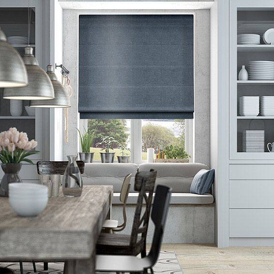 Velvet Misty Blue Roman Blind from Blinds 2go