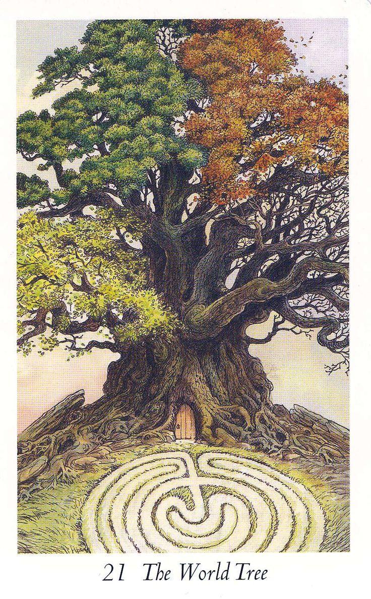 Wildwood Tarot - The World Tree: Trees Of Life, Tarot Card, Earth Day, Wildwood Tarot, The World, 4 Seasons, Tarot Art, Tarot Decks, Labyrinths
