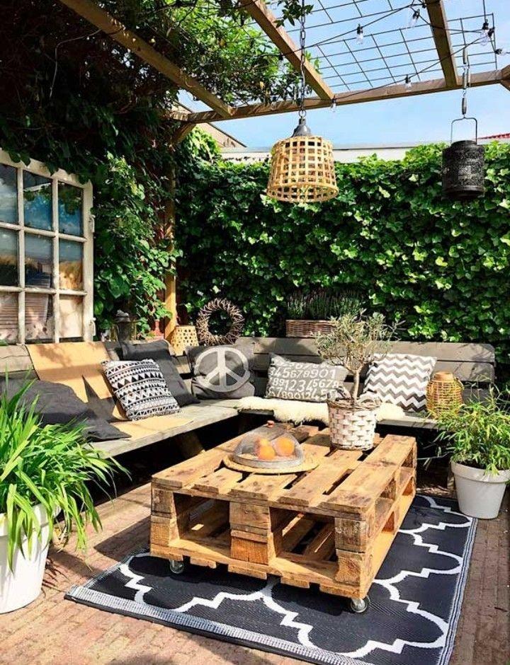 Pin De Cuqui En Bajo Terraza Jardin Decoración De Patio Exterior Muebles Rústicos De Jardín Decoración De Patio