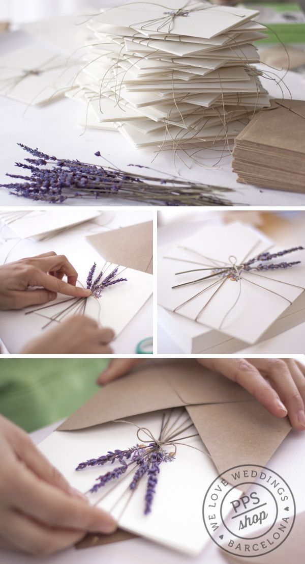 Invites personalized with sprigs of lavender and twine