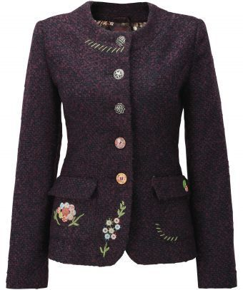 Love the idea of mismatched buttons, embroidery and crochet on a 'plain' jacket.