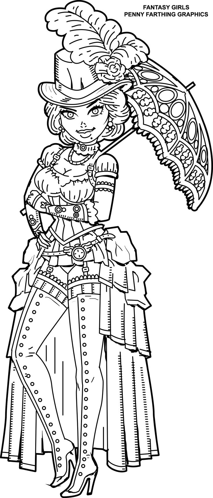 Steampunk Coloring Page from Fantasy Girls: Femme Fatales, Steampunk, Goth and Fantasy Girls Coloring Book by Penny Farthing Graphics on amazon.com