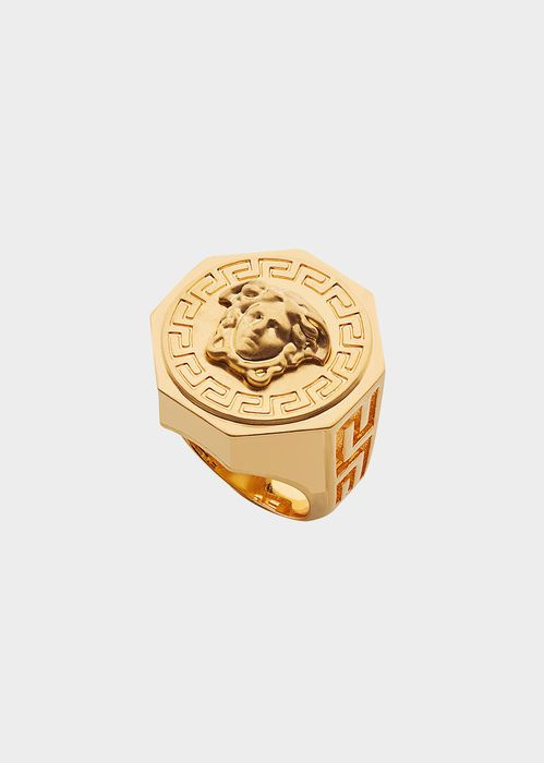 Versace Greca and Medusa Ring for Men | Official Website. Greca and Medusa Ring by Versace Fashion Jewelry for Men. A definitely cool accessory, this evergreen piece exuding unparalleled charm.
