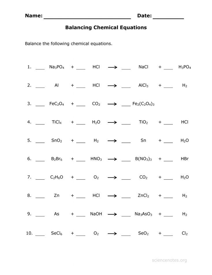 This Balance Chemical Equations Practice Sheet Is Useful To Help