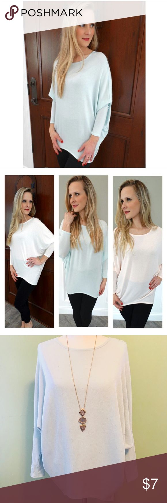 Dolman top ❄️ Cozy top with dolman sleeves. Easy to dress up or down! I have one in pale mint and one in ivory. Can be sold individually or together as a discounted bundle!! Jolie Tops Tees - Long Sleeve