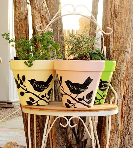 Chalkboard Paint Planters is a photo craft tutorial that shows you how to use stencils to put blackboard paint designs on terra-cotta pots so that you can label it.