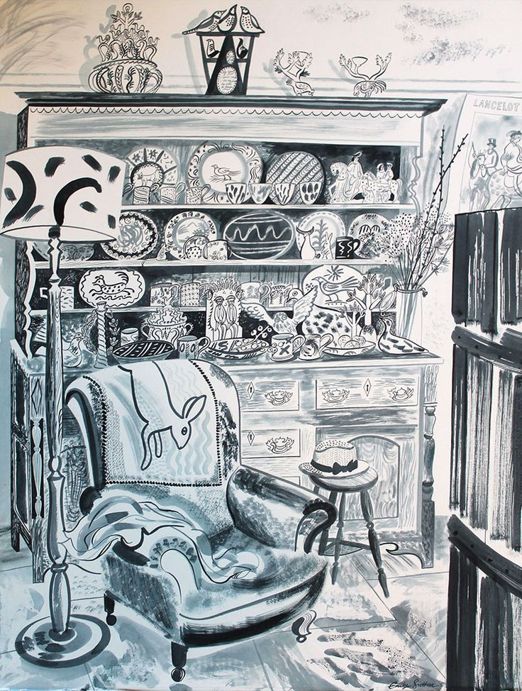"Emily Sutton ""The Oak Dresser"" watercolour - featuring in her 2014/2015 Yorkshire Sculpture Park exhibition http://www.stjudesfabrics.co.uk/blogs/news/15661825-emily-sutton-at-yorkshire-sculpture-park"