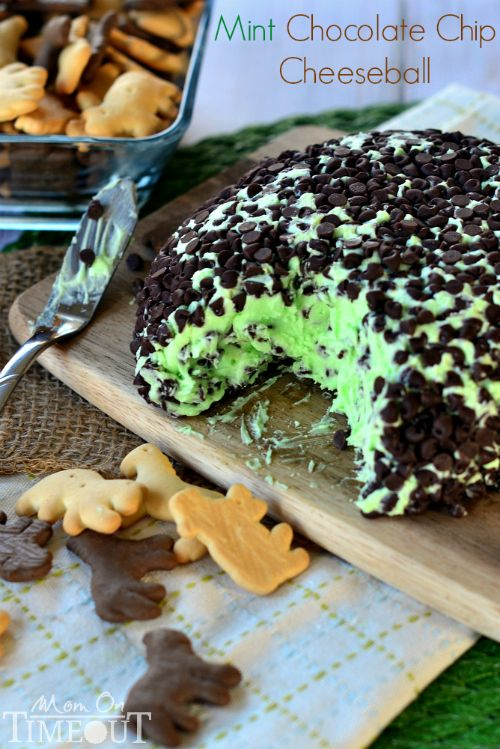 Mint Chocolate Chip Cheese Ball - tastes just like your favorite ice cream but better! | MomOnTimeout.com