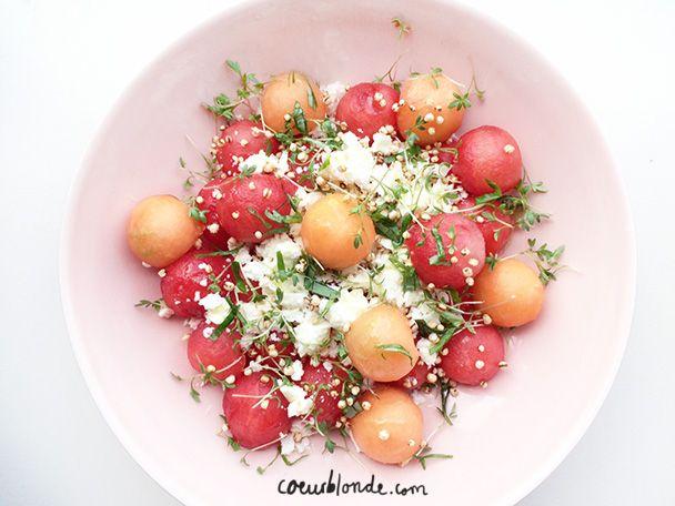 zomerse salade met meloen en quinoa pops