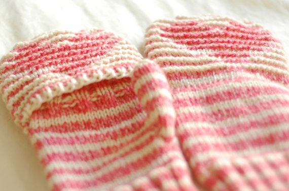 Illusion Knitting Convertible Mittens in Pink and White by Ehmeelu, $55.00