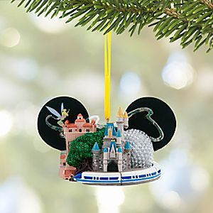 Walt Disney World Ear Hat Ornament with Tinker Bell | Disney Store Display a sparkling souvenir of your <i>Walt Disney World</i> Resort visit on the family tree for years to come with this sculptured ear hat ornament featuring Tinker Bell and famed icons from all four parks.